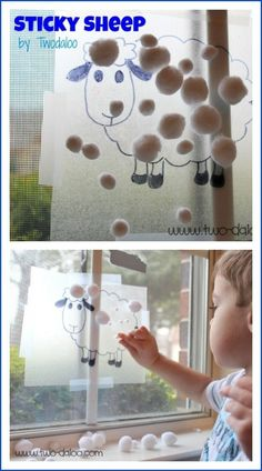 A quick and easy sheep-themed fine motor and sensory activity, perfect for farm theme. Maybe add number or addition sentences and let the kids show the number in cotton balls? Toddler Play, Toddler Learning, Toddler Crafts, Preschool Crafts, Crafts For Kids, Preschool Farm Theme, Farm Activities, Animal Activities, Infant Activities