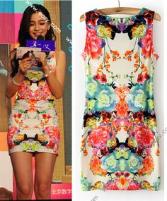 Floral Sexy Stretchy Sleeveless Vest Top T-shirt Dresses #EOZY