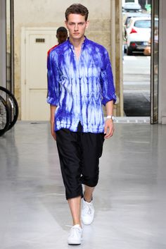 Look 23 of Issey Miyake's Spring 2013 menswear collection - I'm a sucker for tie-dye, Ikat, Asian motifs and the color blue.