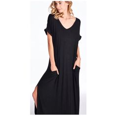 Boho BLACK Oversize Slit Pocket Maxi Dress S M L Available in 6 colors now!!  Black, Mint, Ivory, Mocha, Black/White Stripe, and Gray/White Stripe!!  So beautiful!  Black side slit maxi dress, pockets, very loose oversize fit, can fit up to a size 16, consider sizing down if you don't prefer an oversized loose fit.  Available in size Small,  Medium, or Large. No Trades, Price Firm unless Bundled.  BUNDLE 3 OR MORE ITEMS FOR 15 % OFF. Boutique Dresses Maxi