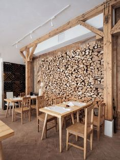Restaurant Lacrimi si sfinti , Bucharest, Romania by Cristian Corvin via Remodelista Romanian rustic meets nordic modern Modern Restaurant, Farmhouse Restaurant, Hotel Restaurant, Scandinavian Restaurant, Industrial Restaurant, Bar Interior, Restaurant Interior Design, Wood Interiors, Cafe Interiors