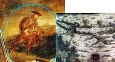 """A comparison between the background figure in the Highland Cheiftain by John Michael Wright, and a textile print which appears to be largely based on """"A Highland Wedding at Blair Atholl', which was painted in 1780 by David Allen."""