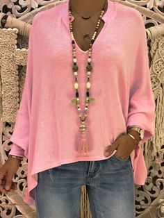 [€ Solide V-hals Lange Mouwen Casual Blouses - VeryVoga Vetement Hippie Chic, Mode Outfits, Fashion Outfits, Batwing Sleeve, Long Sleeve, Shirt Blouses, Shirts, Look Fashion, Latest Fashion