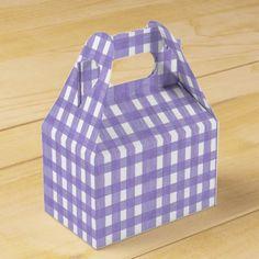 Lavender Lace Gingham Gabled Favor Box