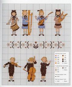 0 point de croix grille et couleurs de fils petite fille et petit garcon musiciens