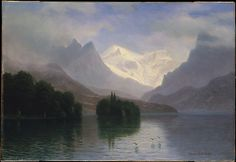 Mountain Scene | Albert Bierstadt | German American painter who painted sweeping landscapes of the American west. He became part of the Hudson River School in New York. He completed over 500 (possibly 4000) paintings during his lifetime and is known for the scale of his work, extreme detail, and use of light.