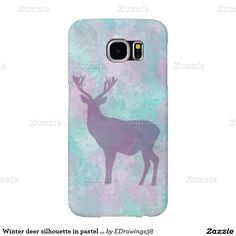 Winter deer silhouette in pastel colors samsung galaxy s6 cases