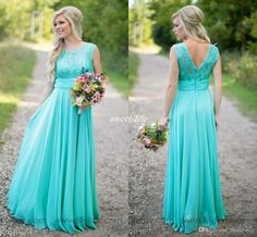 Mint 2016 Bridesmaid Dresses Sheer Jewel Neck Floor Length V Cut Back Long Chiffon Western Country Wedding Party Gowns Maid of Honor Dresses Online with $80.11/Piece on Sweet-life's Store | DHgate.com