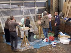 Plaster waste mould, first stage with Thursday group