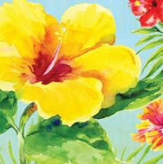 Hibiscus Floral Luncheon Napkins
