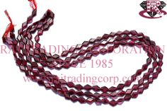 Garnet Faceted Rhombus (Quality AA) Shape: Rhombus Faceted Length: 36 cm Weight Approx: 8 to 10 Grms. Size Approx: 5x6 to 5x7.5 mm Price $8.00 Each Strand