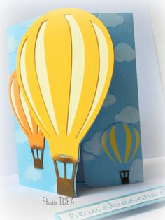 10 Hotair Balloon Invitations-Handmade Hot air Balloon Card- Invitation - Set of 10pcs by StudioIdea on Etsy