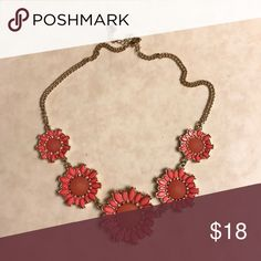 Floral Statement Necklace Very pretty orange floral Statement Necklace from Francesca's. In perfect condition. Francesca's Collections Jewelry Necklaces