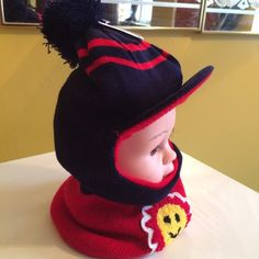 """Kids Mask Winter hat/hood/mask Sun....Pom-pom kids winter hat .......                                 ❌❌SORRY NO TRADE❌❌...  Price is negotiable within reason.  Make me a reasonable offer via """"OFFER"""" the button. Thank you.  Accessories Hats"""