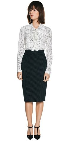 Wear to Work | Scattered Spot Tie Neck Blouse