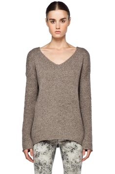 Vince Wide Vee Sweater In Smoke by Vince