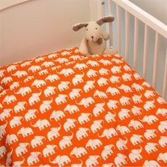 Baby sengetøj elefanter - Orange  Elin