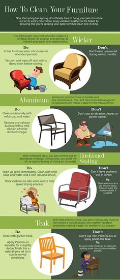 How To Clean Your Furniture Infographics Patio Cushions Cleaning
