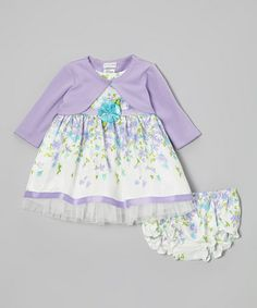 Take a look at this Purple & White Lilac Dress Set - Infant by Youngland on #zulily today!