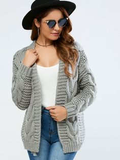 Cable Collarless Cardigan