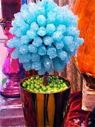 Rock candy and flowers.