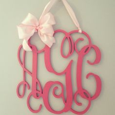 3 letter wooden monogram door hanger with bow 18x18 on Etsy, $85.00