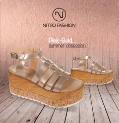 Pink-Gold...summer obsession #handmade #leather #flatforms #madeingreece #nitrofashion Pink Fashion, Handmade Leather, Pink And Gold, Wedges, Summer, Shoes, Summer Time, Zapatos, Shoes Outlet