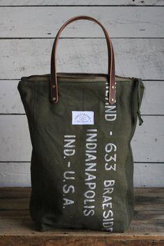 The Rambler Tote / WWII era Duffle Bag Canvas w/ Hand Printing
