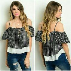Jill Marie Boutique Tops - Black & white cold shoulder blouse top Medium 9/10