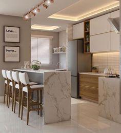 45 suprising small kitchen design ideas and decor 16 Kitchen Room Design, Home Room Design, Modern Kitchen Design, Home Decor Kitchen, Interior Design Kitchen, House Design, Kitchen Ideas, Interior Minimalista, Stylish Kitchen