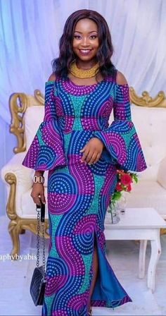 Purple and black fabric African Dresses For Kids, African Fashion Ankara, Latest African Fashion Dresses, African Dresses For Women, African Print Dresses, African Print Fashion, Africa Fashion, African Attire, Africa Dress