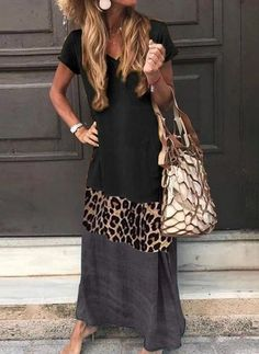 V Neck Short Sleeve Ankle-Length Leopard Print Color Matching Casual D – linenwe long maxi dresses dress maxi maxi skirts and dresses cute maxi dress Mode Outfits, Fashion Outfits, Modest Fashion, Casual Dresses, Casual Outfits, Maxi Dresses, Elegant Dresses, Tight Dresses, Summer Dresses