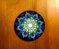 Wood Magnet~ Blue Yellow Mandala Flower ~Turquoise to Navy Ombre Progression~ Hand Painted by Miranda Pitrone ~ Dot Art/Gift Idea by P4MirandaPitrone on Etsy