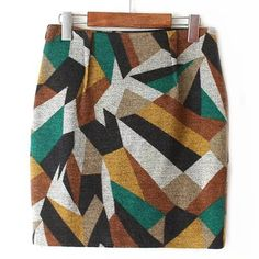 High-Waisted Colorful Printed Winter Skirt