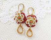 Was 62.00 Romantic Floridian Gold Crochet Delicate Floral Lace Dangle Beaded  Earrings - Beradan - Cinnamon White Green