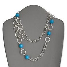 Necklace, silver-plated steel and acrylic, turquoise blue