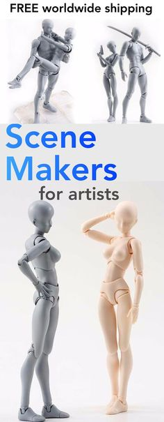 Make some sketching any masterpiece with these highly realistic and adjustable figurines that was created especially for artists, illustrators, and all types of creatives. Model create poses for any drawing or sketch. Over 30 joints, so you can make almost any pose. Figures measure nearly 6''/15cm tall and come with 17 interchangeable hands and tools. FREE WORLDWIDE SHIPPING on all sets. Due to high demand may take 2-4 weeks to arrive Limited Supply