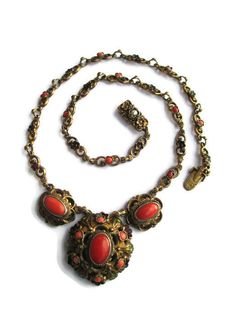 Victorian Austro Hungarian Gilt 925 Silver Coral Cabochon Pearl Enamel Necklace #AustroHungarian #Choker
