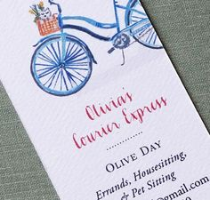 Bike with Basket Dog and Flower Business Card by nancynikkodesign, $26.50
