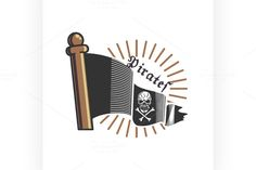 Color vintage pirate emblem @creativework247