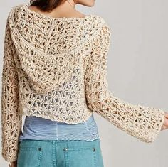 Free pattern hooded boho gypsy hippy chic hoodded lace crochet crop cardi to make for summer ༺✿ƬⱤღ  https://www.pinterest.com/teretegui/✿༻