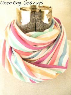 Summer infinity scarf stripes jersey knit by UnendingScarves, $14.99