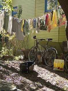 love this, laundry and bikes