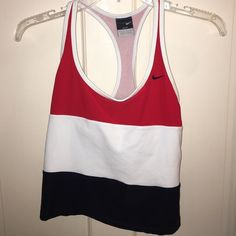 Nike workout top Nike red white and blue workout top.  Great condition Nike Tops Tank Tops