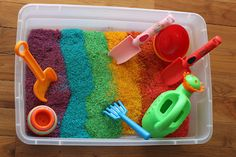 Rainbow Rice and Pasta sensory bins..... Mix with neon food coloring & rubbing alcohol in ziplock bags; let sit for 15 minutes; air dry on cookie sheets; store in clear Rubbermaid totes