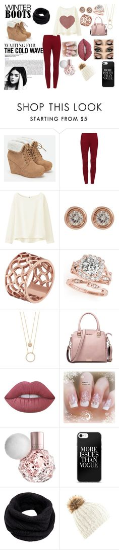 """""""Winter Boots"""" by marndt433 on Polyvore featuring JustFab, Uniqlo, Ron Hami, Tartesia, Kate Spade, Lime Crime and Helmut Lang"""