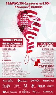"""Torneo de pádel X Aniversario de """"Creaccion"""", este sábado, con cinco categorías"""