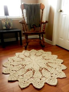 Giant Crochet Doily Rug in Geometric Petals Design  by EvaVillain