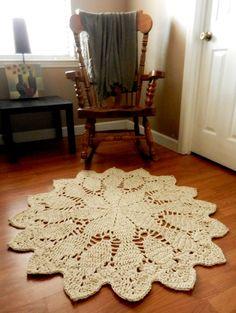 Giant Crochet Doily Rug in Geometric Petals Design  by EvaVillain