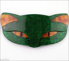 Lea Stein Large Figural Dark Green Romeo Cat Head Pet Brooch Pin French Plastic | eBay